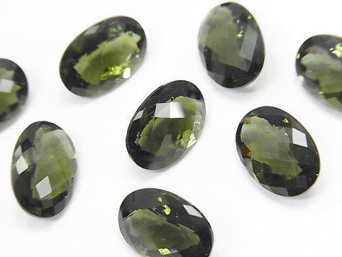 宝石質モルダバイトAAA 穴なしオーバルファセットカット(チェッカーカット)13×9×7mm 1個