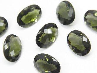 宝石質モルダバイトAAA 穴なしオーバルファセットカット(チェッカーカット)13×9×7mm 1個7,980円!