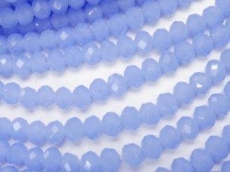 天然石卸 1連180円!ガラスビーズ ボタンカット4×4×3 ブルー 1連(約47cm)
