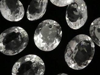 天然石卸 素晴らしい輝き!宝石質クリスタルAAA オーバルファセットカット12×10×6 5粒〜1連(ブレス)