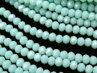天然石卸 1連180円!ガラスビーズ ボタンカット3×3×2 パステルブルー 1連(約36cm)