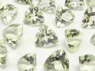 天然石卸 宝石質グリーンアメジストAAA 穴なしトライアングルファセットカット8×8×5 5粒580円!