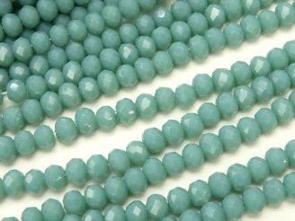 天然石卸 1連180円!ガラスビーズ ボタンカット3×3×2 ブルーグリーン 1連(約39cm)