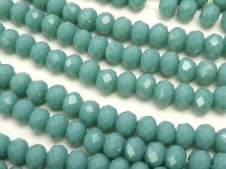 天然石卸 1連180円!ガラスビーズ ボタンカット4×4×3 ブルーグリーン 1連(約46cm)