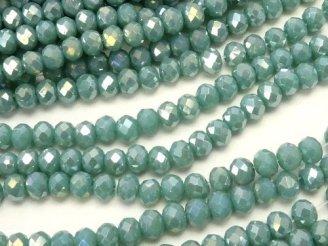 天然石卸 1連180円!ガラスビーズ ボタンカット3×3×2 ブルーグリーンAB 1連(約38cm)