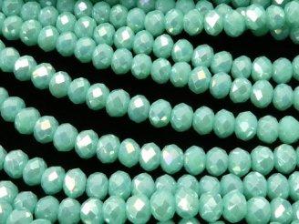 天然石卸 1連180円!ガラスビーズ ボタンカット3×3×2 ブルーグリーンNO.2AB 1連(約37cm)