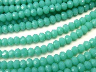 天然石卸 1連180円!ガラスビーズ ボタンカット3×3×2 ブルーグリーンNO.3 1連(約36cm)