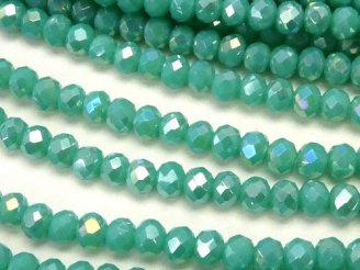 天然石卸 1連180円!ガラスビーズ ボタンカット3×3×2 ブルーグリーンNO.3AB 1連(約38cm)