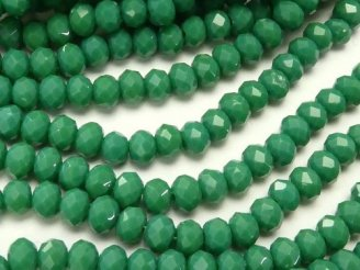 天然石卸 1連180円!ガラスビーズ ボタンカット3×3×2 グリーン 1連(約34cm)
