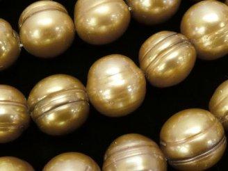 天然石卸 1連1,180円!淡水真珠AA 縞入り大粒ポテト11〜12mm ゴールド 1連(約36cm)