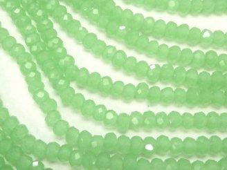 天然石卸 1連180円!ガラスビーズ ボタンカット3×3×3 パステルグリーン 1連(約32cm)