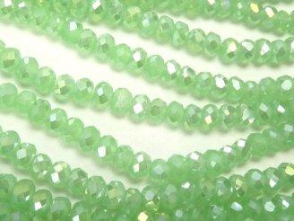 天然石卸 1連180円!ガラスビーズ ボタンカット3×3×3 パステルグリーンAB 1連(約32cm)