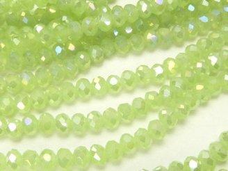 天然石卸 1連180円!ガラスビーズ ボタンカット3×3×3 ライムグリーンAB 1連(約36cm)