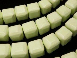 天然石卸 レモンクリソプレーズAA++ キューブカット8×8×8 半連/1連(約38cm)