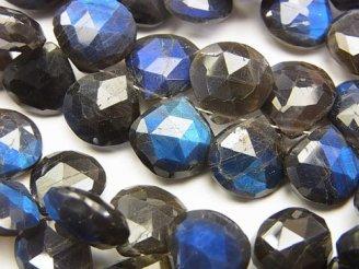 天然石卸 宝石質ブラックラブラドライトAA++ 大粒マロン ブリオレットカット 1/4連〜1連(約16cm)