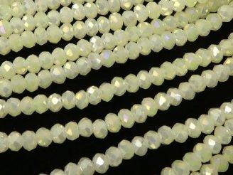 天然石卸 1連180円!ガラスビーズ ボタンカット3×3×3 パステルイエローAB 1連(約32cm)