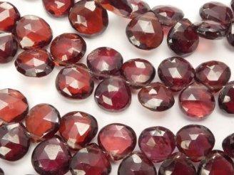 天然石卸 宝石質モザンビークガーネットAAA- マロン ブリオレットカット 半連/1連(約18cm)