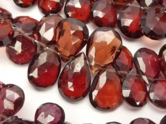 天然石卸 宝石質モザンビークガーネットAAA- ペアシェイプ ブリオレットカット 半連/1連(約20cm)