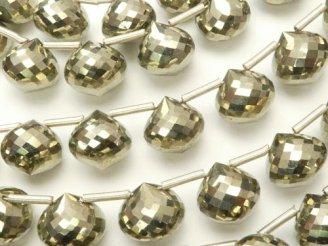 天然石卸 極上カット!宝石質ゴールデンパイライトAAA オニオン ブリオレットカット 1連(約8cm)