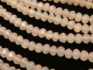 天然石卸 1連180円!ガラスビーズ ボタンカット4×4×3 ライトオレンジ 1連(約44cm)