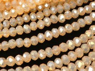天然石卸 1連180円!ガラスビーズ ボタンカット4×4×3 ライトオレンジAB 1連(約42cm)