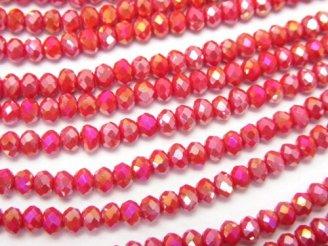 天然石卸 問屋 販売|ケンケンジェムズ ドットコム 1連180円!ガラスビーズ ボタンカット3×3×2 レッドAB 1連(約35cm)