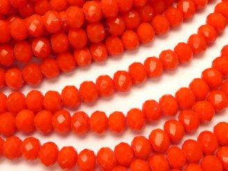 天然石卸 1連180円!ガラスビーズ ボタンカット4×4×3 オレンジレッド 1連(約44cm)