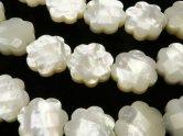 天然石卸 高品質ホワイトシェル フラワー(カット入り)10mm・12mm・15mm 半連/1連(約38cm)