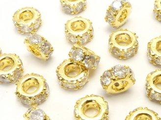 天然石卸 メタルパーツ ロンデル7×7×3 ゴールドカラー(CZ付) 3個380円!