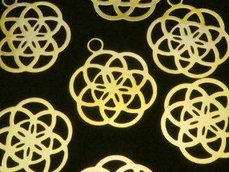 天然石卸 メタルパーツ ホーリーチャーム 【シード オブ ライフ】 24×20 ゴールドカラー 1枚100円!