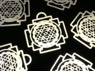 天然石卸 メタルパーツ ホーリーチャーム 【ヤントラ】 21×20 シルバーカラー 1枚100円!
