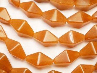 天然石卸 1連1,180円!オレンジアベンチュリン 8面ダイヤカット16×10×10 1連(約38cm)