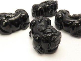 天然石卸 レインボーオブシディアンAAA 貔貅(ヒキュウ)の彫刻 30×18×14mm 1ペア780円!