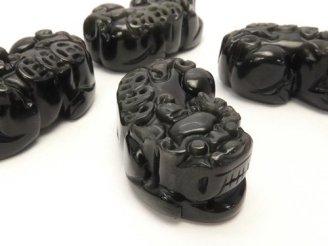 天然石卸 レインボーオブシディアンAAA 貔貅(ヒキュウ)の彫刻 35×18mm 1ペア780円!