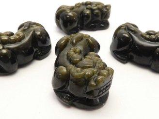 天然石卸 ゴールデンシャインオブシディアンAAA 貔貅(ヒキュウ)の彫刻 30×18×12mm 1ペア980円!