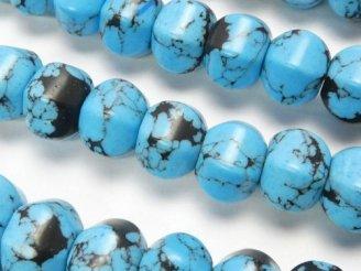 天然石卸 ブルーハウライト 6面ロンデルカット10×10×8 半連/1連(約38cm)