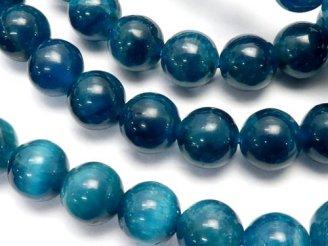 天然石卸 1連4,980円!高品質ブラジル産ブルーアパタイトAAA- ラウンド8mm 1連(ブレス)