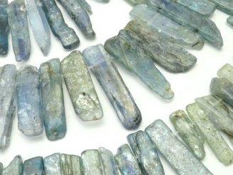 天然石卸 1連1,580円!ケニア産カイヤナイトAA+ 縦長フラットタンブル クレオ穴 1連(約38cm)