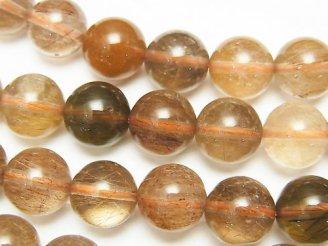 天然石卸 マルチカラー ルチルクォーツAA++ ラウンド10mm 1/4連〜1連(約36cm)