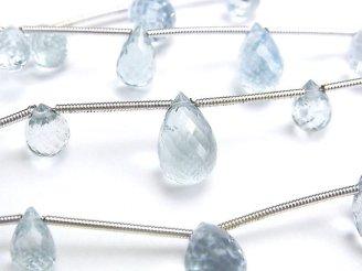 天然石卸 1連3,980円!宝石質アクアマリンAAA ドロップ ブリオレットカット 1連(5粒)