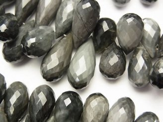 天然石卸 宝石質イーグルアイAAA ドロップ ブリオレットカット 半連/1連(約18cm)