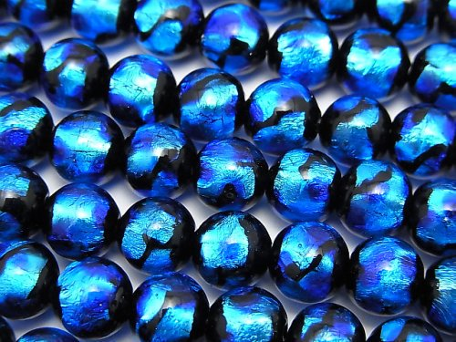 とんぼ玉 ラウンド8mm 【ブルー×ライトブルー】 1/4連〜1連(約36cm)