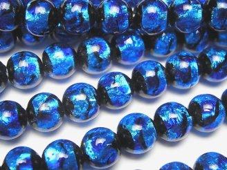 天然石卸 とんぼ玉 ラウンド8mm 【ブルー×ライトブルー】 1/4連〜1連(約36cm)