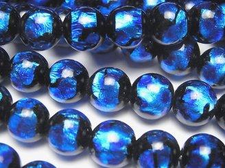 天然石卸 とんぼ玉 ラウンド10mm 【ブルー×ライトブルー】 1/4連〜1連(約36cm)