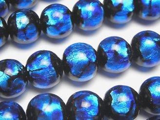 天然石卸 とんぼ玉 ラウンド12mm 【ブルー×ライトブルー】 1/4連〜1連(約34cm)