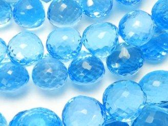 天然石卸 宝石質スイスブルートパーズAAA オニオン ブリオレットカット 4粒〜1連(約18cm)