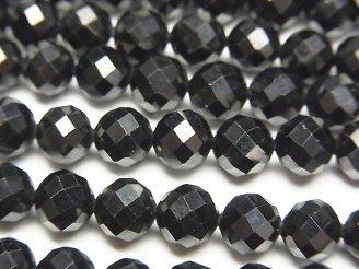 天然石卸 素晴らしい輝き!ブラックスピネルAAA 64面ラウンドカット6mm 半連/1連(約35cm)