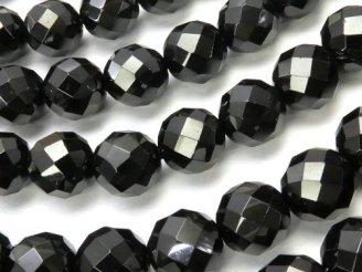 天然石卸 素晴らしい輝き!ブラックスピネルAAA 64面ラウンドカット8mm 半連/1連(約38cm)