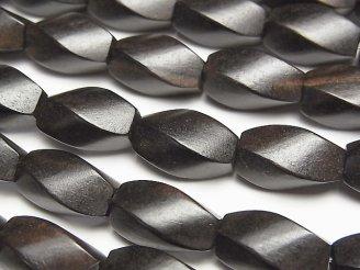 天然石卸 1連480円!エボニー(黒壇) 4面ツイストライスカット15×8×8 1連(約38cm)