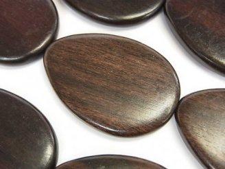 天然石卸 1連780円!エボニー(黒壇) 縦穴ペアシェイプ35×24×5mm 1連(約38cm)